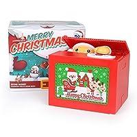 黄色の 猫形状盗むコイン電気貯金箱 クリスマス版 貯金箱 新しい クリエイティブ クリスマス版