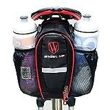 SHITORASU 自転車サドルバッグ 防水 大容量 シートポストバッグ ボトルバッグ 2本入り水筒バッグ 夜間反射テープ付き