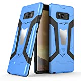 Galaxy Note 8ケース, Ranyi [ 3Piece Full Body Armor ] [組み込みキックスタンド] [衝撃吸収]ラグジュアリーメタルテクスチャ丈夫なゴム360保護3in 1ケースのSamsung Galaxy Note 8( 2017) ブルー Ranyi-2033343