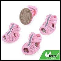 uxcell 犬用靴 犬靴 犬シューズ ドッグシューズ サンダル メッシュ マジックテープ ピンク サイズXXS サイズ1 一足分4個セット