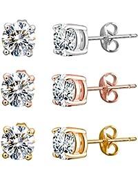 [女性向けイヤリング]Murtoo Set of Women's Silver Stud Earrings -?3?Pairs with AAA Cubic Zirconia in Gift Box[平行輸入品]