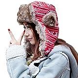 京都おかげさまで パイロットキャップ トナカイ柄 ファー使い 飛行帽 ノルディック柄 ニット帽 (レッド)
