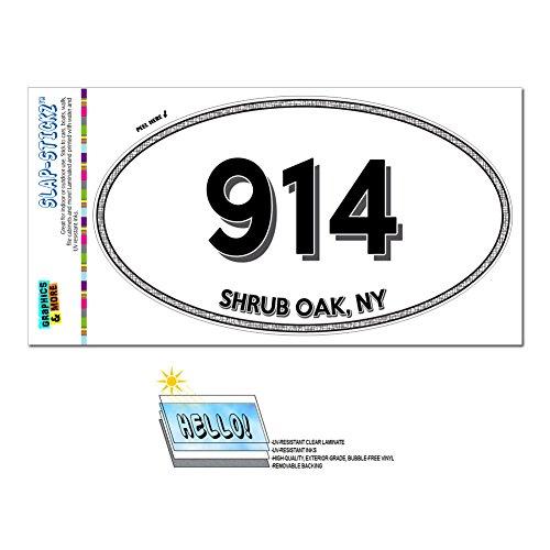 914 - 低木オーク, NY - ニューヨーク - 楕円形市外局番ステッカー