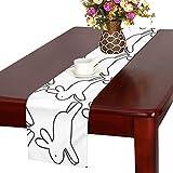 GGSXD テーブルランナー 幼いうさぎ クロス 食卓カバー 麻綿製 欧米 おしゃれ 16 Inch X 72 Inch (40cm X 182cm) キッチン ダイニング ホーム デコレーション モダン リビング 洗える