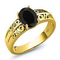 Gem Stone King 1.25カラット 天然 オニキス シルバー925 イエローゴールドコーティング 指輪 リング