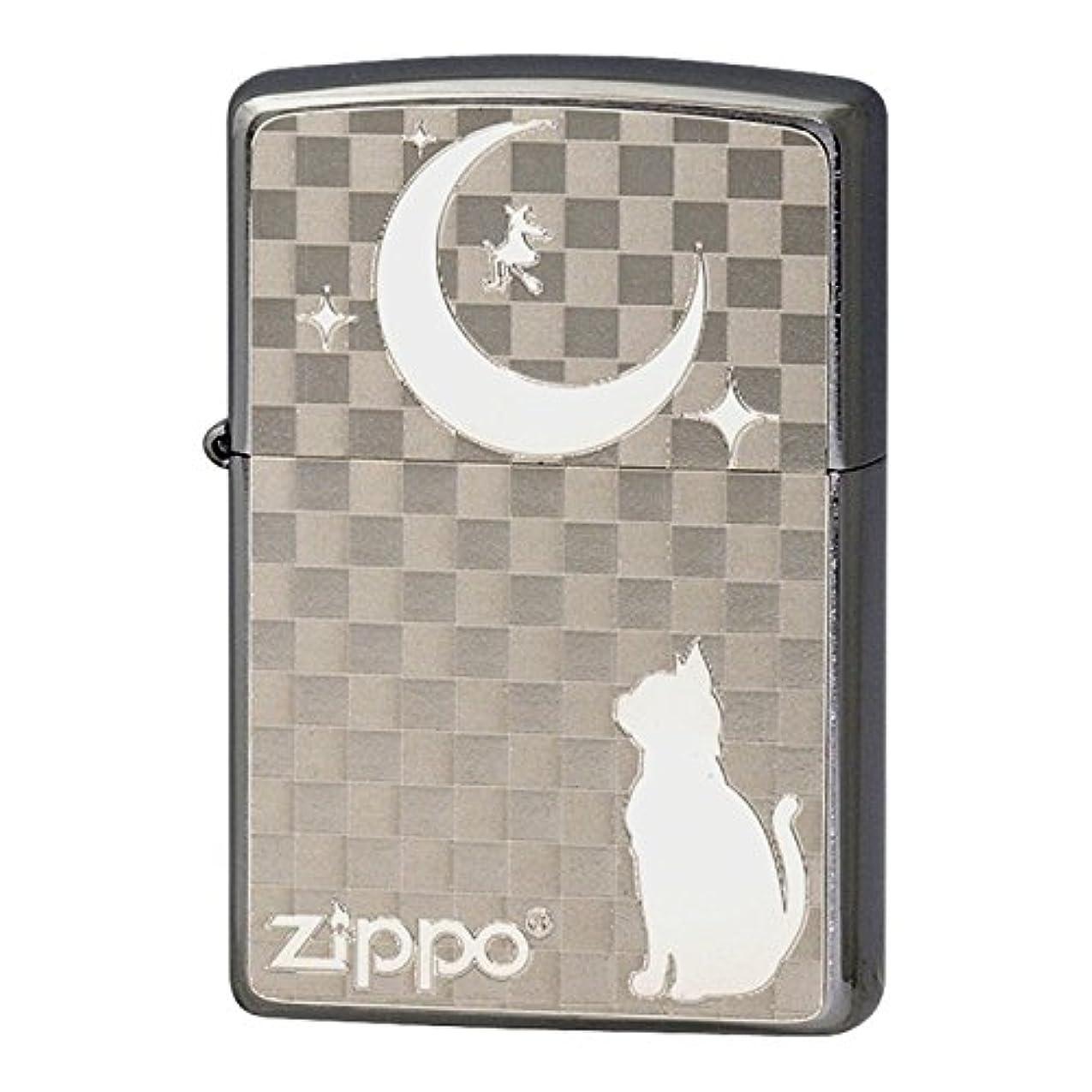 第しかし侵入するZippo ジッポー Zippoライター ジッポライター 名入れ ライター ジッポライター 猫 200 フラットボトム メタルペイントプレート ホワイトニッケル 2MP-ネコと月