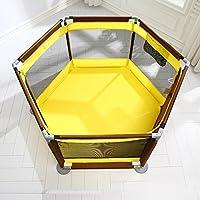 折り畳まれたPlaypen Play Yard With Baby Fence 6 Panel子供のためのアクティビティセンター少女のための屋外屋内ホーム (色 : イエロー いえろ゜)