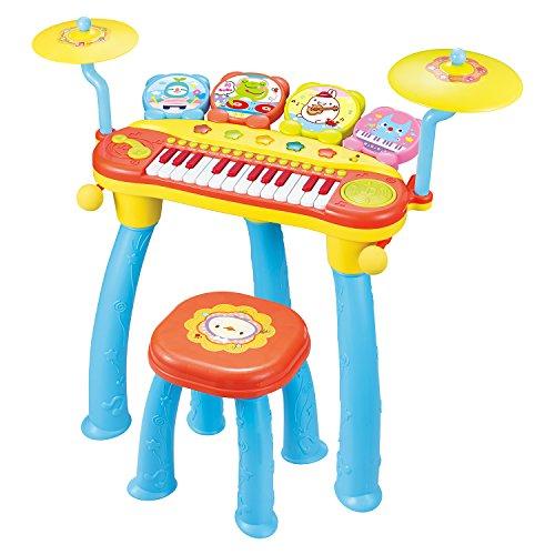 マジックキーボード シンバルとドラムセット マイク 椅子あり 音楽おもちゃ オレンジ [並行輸入品]