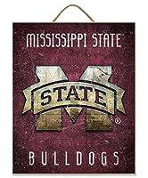 NCAA ミシシッピ州立大学ブルドッグス ロゴ 地図 看板 木製 ロープハンガー