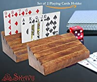 SKAVIJ Playing Card Holder Rack Organiser, Set of 2, Handmade Wooden Tray (Stand)