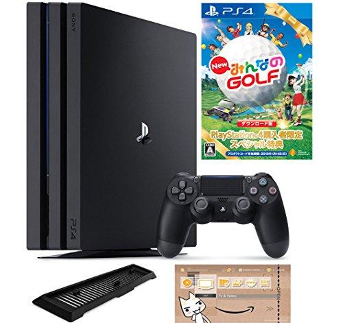 PlayStation 4 Pro ジェット・ブラック 1TB (CUH-7100BB01) 【数量限定特典 New みんなのGOLF ダウンロード版付】【Amazon.co.jp限定】アンサー 縦置きスタンド付 & オリジナルカスタムテーマ (配信)
