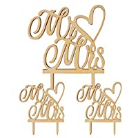 TOYANDONA 2ピース木製ミスターとミセスウェディングケーキトッパーカップケーキトッパーヴィンテージ素朴な結婚記念日パーティーの装飾ギフト