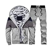 SemiAugust(セミオーガスト)メンズ 秋冬用 アウトウェアセット 厚いスーツ プラスベルベット 着ごこち抜群 スウェット  男性用 カラーはグレー サイズは4XL