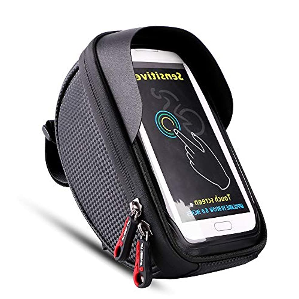 アカデミー正当な副詞自転車 ハンドルバッグ フレームバッグ 防水 防塵 大容量 軽便 取り付け簡単 遮光板 タッチスクリーン機能 6.0インチ対応