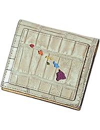 【ブランド紙袋付】 Lanai TRANSIT HAWAI Rainbow Smart Case Wallet 二つ折り財布 クロコ型押し ライトグレー(アイボリー) LT-70666-GY
