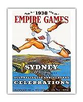 1938年の大英帝国のゲームシドニー - オーストラリアの150周年記念 - ビンテージスポーツポスター - Charles Meere c.1938 - アートポスター - 41cm x 51cm