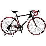 ロードバイク TOTEM 13B409 黒バーテープ赤 超軽量アルミフレーム 700×50cm ライト+鍵セット