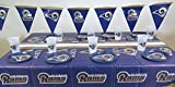 LOS Angeles Rams, 4th of July Barbecue 49 pieces Party set, Tablecloth,16 plate, 16 napkins, and large plastic 16 cups. [並行輸入品]