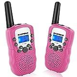 トランシーバー 無線機 子供 無線通信機 LEDライト通信範囲最大3km T3 携帯型 簡単操作 低放射 ピンク 2台セット