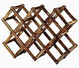 折りたたみ 収納 可 木製 ワイン ラック ワイン ボトル ホルダー 10本 用 オープナー 付き (ナチュラル)