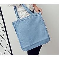 Has Many Uses Female Shoulder Denim Tote Bag Shopping Bag Mummy Bucket Bag Canvas Bag Light Blue