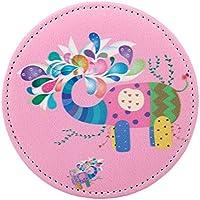 HuaQingPiJu-JP ミニラウンド漫画エレファントパターン小さなガラスミラーサークルクラフト装飾化粧品アクセサリー