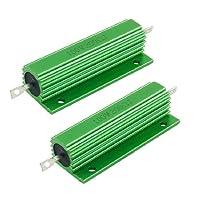 uxcell ハイフラ防止器 巻線型抵抗器 グリーン 100W 200Ohm 良好なパフォーマンス 2個入り …