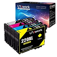 UniworkリサイクルインクカートリッジEpson 220220x L (4パック) 使用for Epson WorkForce wf-2760wf-2750wf-2630wf-2650wf-2660xp-320xp-420プリンタ(1ブラック1シアン1マゼンタ1イエロー)