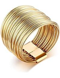 Vnox リング 指輪 レディース ステンレス 指輪 男女兼用 多重リング重ね 幅広 個性デザイン 婚約指輪 結婚式 ハワイアン アレルギー対応 ゴールド12号
