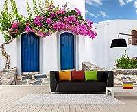 Ansyny 地中海スタイルの写真の壁紙3Dギリシャの建物の壁の絵画レストランカフェ寝室の背景の壁の壁画-300X200CM