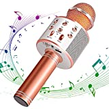 ANBURT カラオケマイク ポータブルスピーカー 多機能 マイク 音楽再生 ノイズキャンセリング 家庭 無線マイク カラオケ Android/iPhoneに対応 (カラー1)