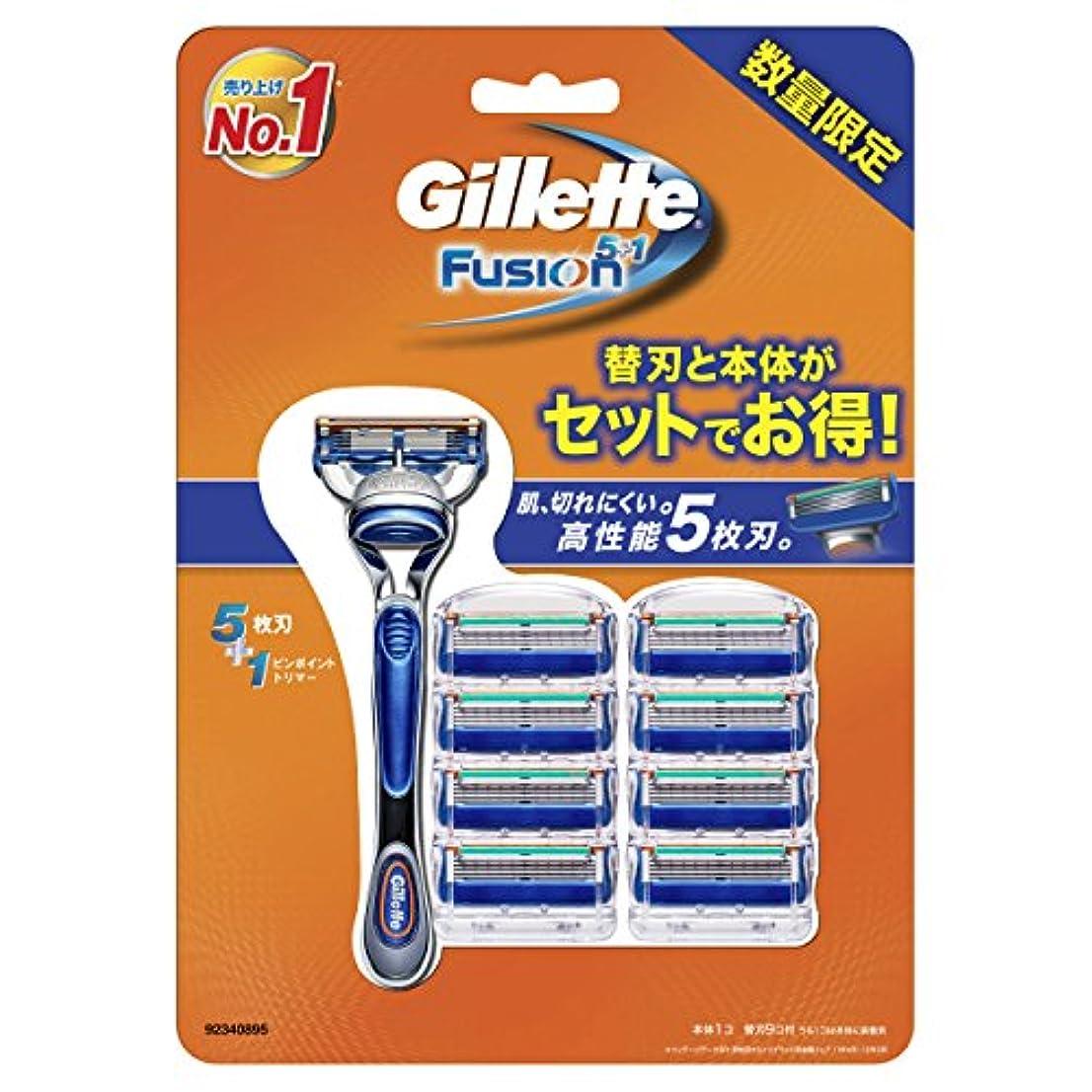 無効アリ圧力ジレット フュージョン5+1 マニュアル 髭剃り 本体+替刃 9個付