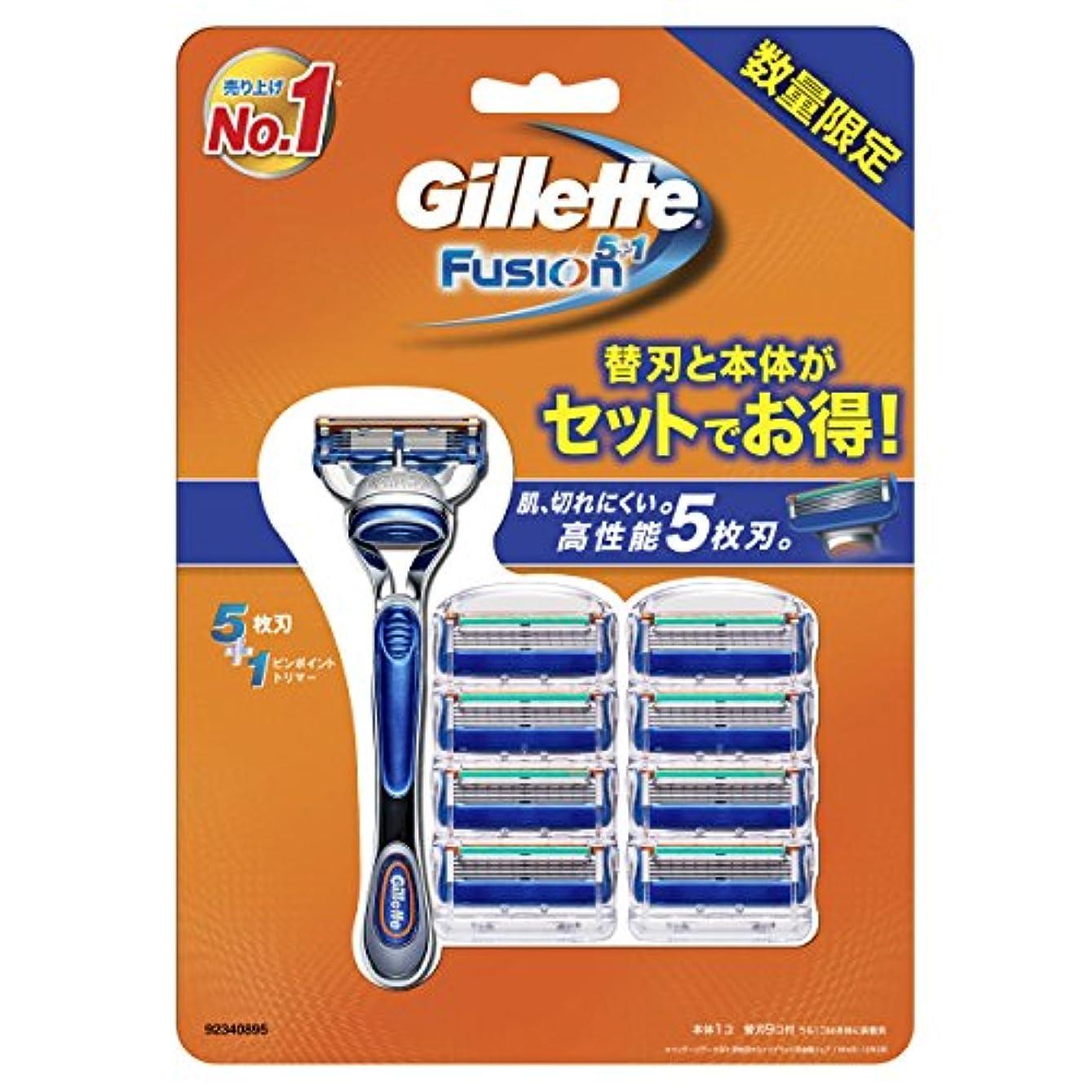 適用済みテザー故意のジレット フュージョン5+1 マニュアル 髭剃り 本体+替刃 9個付