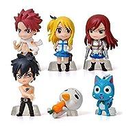 Anime Fairy Tail Lucy Natsu Gray Elza Happy Miniature Action Figures Toys 6pcs/set