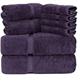 Towel Bazaar Luxury Hotel and Spa Quality Dobby Border 100% Turkish Cotton Eco-Friendly and Highly Absorbent Towel Set (Set o