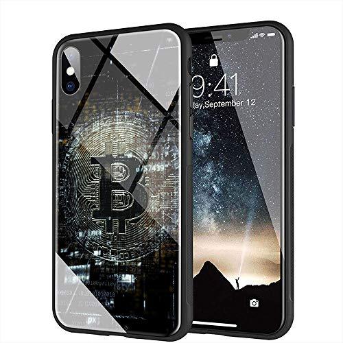 iPhone 6 ケース, iPhone 6s ケース, と互換性のある強化ガラスバックカバーソフトシリコンバンパー iPhone 6/6s AMA-16 BTCビットコイン