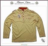 刺繍入りフォーマルに映える高級感ある長袖ポロシャツ(JPBt) イエロー 150cm