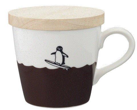 Suica・スイカペンギン】マグカップ 【サーフィンバージョン】木製コースター兼フタ付き