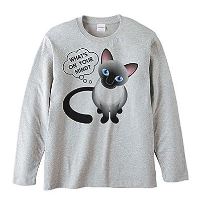 エムワイディエス(MYDS) シャム猫(何を考えているの?)/長袖Tシャツ/杢グレー/Mサイズ