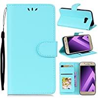 Samsung Galaxy A3 (2017) A320 Leather Wallet Case with ポーチ, Happon Samsung Galaxy A3 (2017) A320 Flip Cover, ポーチ, フォンケース Case (Sky Blue)