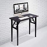 Need Small Computer Desk Folding Table 80cm Length No Assembly Sturdy and Heavy Duty Writing Desk for Small Spaces and Folding Computer Desk (Black Walnut) AC5CB8040