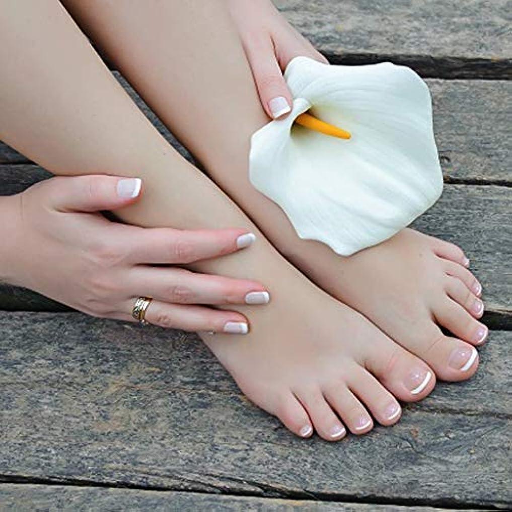 誠実スリット男XUTXZKA つま先の指のための楕円形の24個の偽の爪のつま先ネイルのヒントホワイトカラーの偽のネイルキット