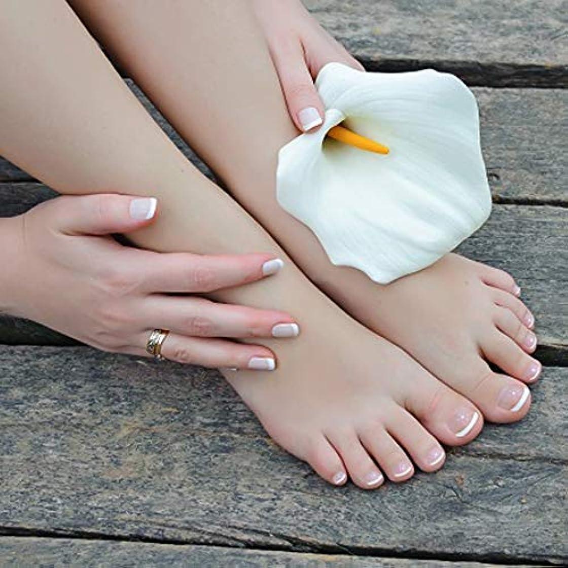 金曜日評論家急性XUTXZKA つま先の指のための楕円形の24個の偽の爪のつま先ネイルのヒントホワイトカラーの偽のネイルキット
