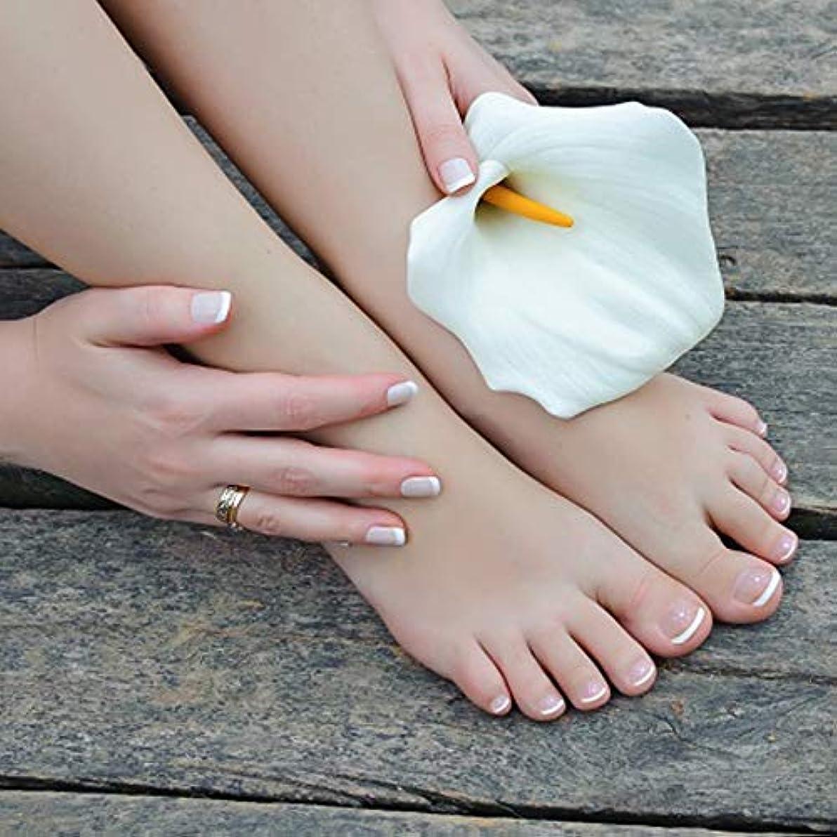 なぞらえるサンダー苦痛XUTXZKA つま先の指のための楕円形の24個の偽の爪のつま先ネイルのヒントホワイトカラーの偽のネイルキット