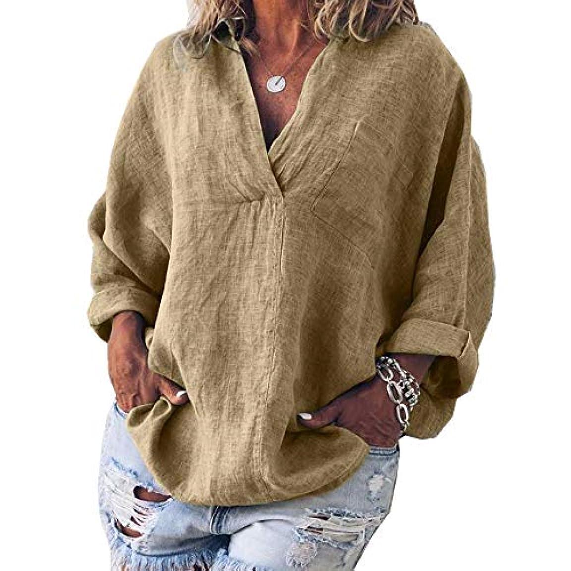 キャンパス上あいまいMIFAN女性ファッション春夏チュニックトップス深いVネックTシャツ長袖プルオーバールーズリネンブラウス