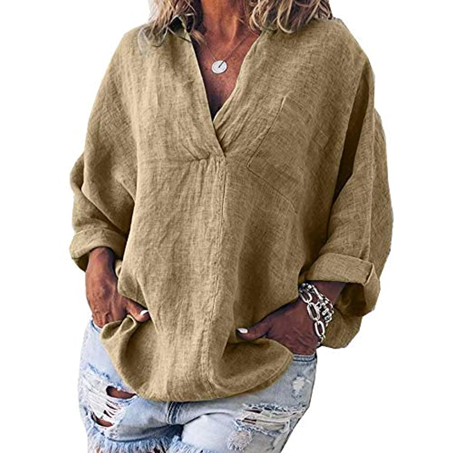 支出反論作者MIFAN女性ファッション春夏チュニックトップス深いVネックTシャツ長袖プルオーバールーズリネンブラウス