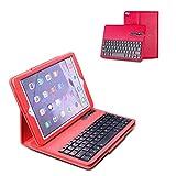Ewin iPad Air ケース iPad Air2 ケース ワイヤレス Bluetooth3.0搭載 分離式 キーボードケース PUレザー素材 スタンド機能付き US配列 保護ケース(レッド)【日本語説明書付き、一年安心保証】