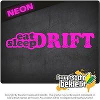睡眠ドリフトを食べる Eat Sleep Drift 20cm x 6cm 15色 - ネオン+クロム! ステッカービニールオートバイ