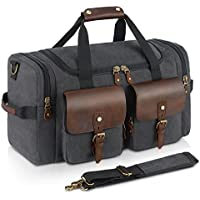 Plambag Oversized Leather Canvas Duffle Bag Overnight Tote Weekend Bag