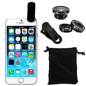 iPhone・各種スマートフォン対応 魚眼 広角 マクロ 3in1レンズ 挟むだけで簡単装着    ブラック